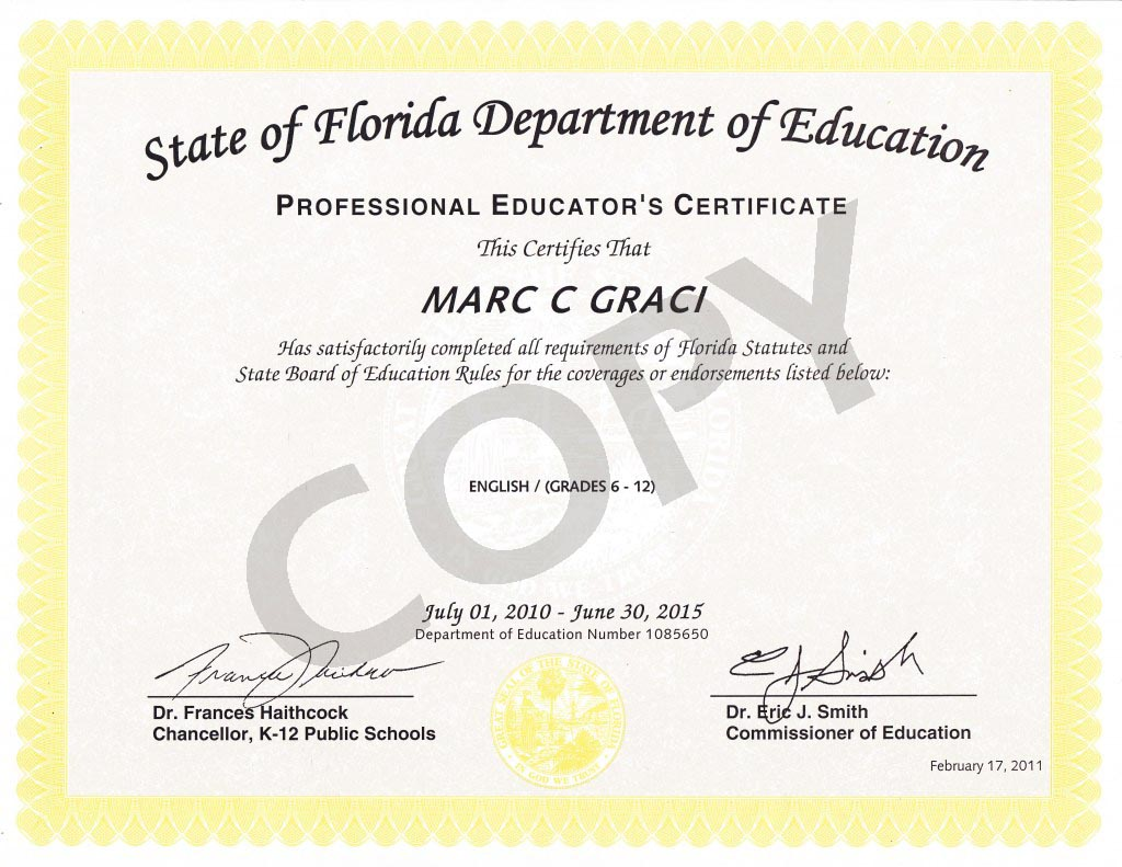 Licenses marc graci teacher pennsylvania certificate for english grades 7 12 xflitez Images