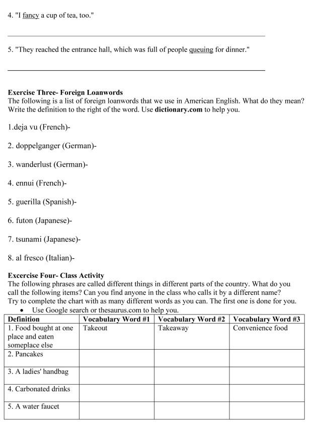 Variation in the English Language Worksheet – Variation Worksheet